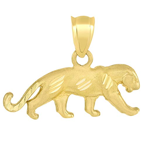 Jewelry America Solid 14k Yellow Gold Textured Panther Charm Animal Pendant