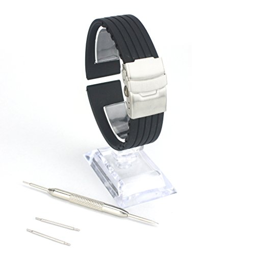 (Happy Hours - 22mm Black Waterproof Stripes Pattern Silicone Watch Band Strap Stainless Steel Deployment Clasp Buckle With Spring Bars & Tool Set for Rolex Tudor Omega Seiko Casio Tissot Armani)