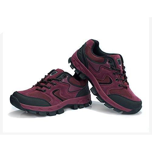 CHT De Otoño E Invierno Amantes Al Aire Libre De Senderismo Zapatos De Los Hombres De Montaña De Tamaño Multi-código Rojo Verde Marrón Gris Opcional Red-women-40