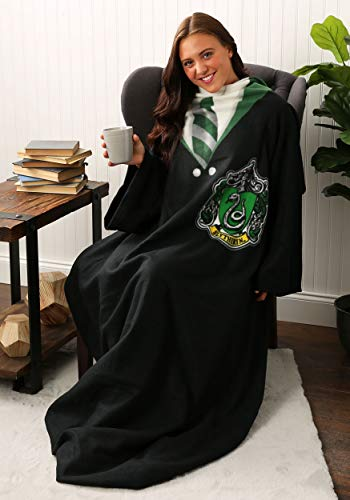 "Harry Potter Slytherin Rules Soft Throw Blanket with Sleeves, 48"" x 71"""
