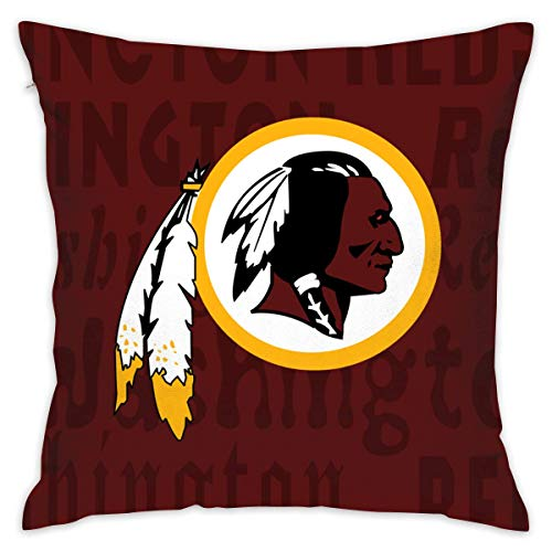 luckyly Custom Colorful Washington Redskins Pillow Covers Standard Size Throw Pillow Cases Decorative Cotton Pillowcase Protecter Zipper - 18x18 Inches
