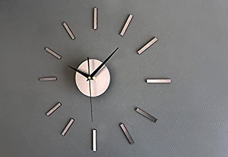 DAJIN Metal Texture Stick The Strip DIY Simple Creative Decoration No Ticking Household Wall Clock
