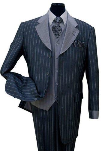Milano Moda Pinestripe Fashion Suit with Contrast Collar, Cuffs & Vest 2911-Navy-40R ()