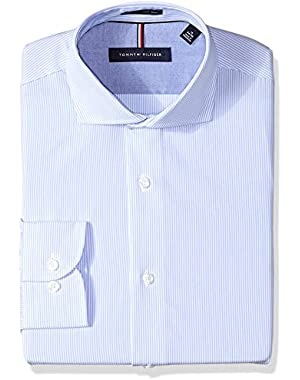 Men's Dress Shirts Non Iron Slim Fit Stripe Spread Collar