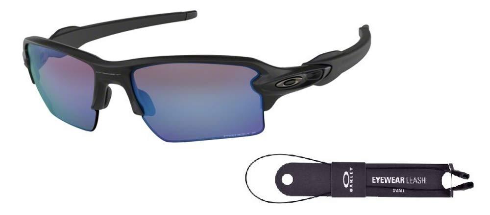 Oakley Flak 2.0 XL OO9188 918858 59M Matte Black/Prizm Deep H2o Polarized Sunglasses For Men+BUNDLE with Oakley Accessory Leash Kit