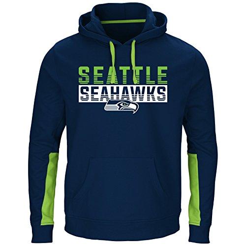 NFL Seattle Seahawks Men PULLOVER HOODIE, NVY/BRITE GRN, (Seattle Seahawks Nfl Hoody)