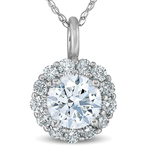1 Ct Halo Diamond Pendant Necklace 18