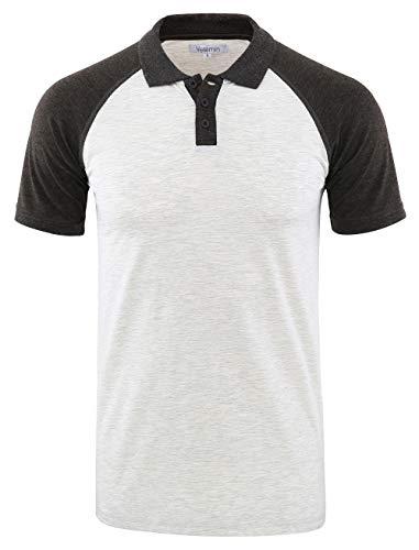 Center Street Henley - Vetemin Mens Casual Retro Short Sleeve Active Raglan Jersey Polo Henley T Shirt H.Oatmeal/H.Charcoal L
