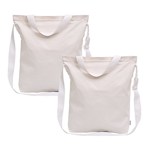 (Augbunny 12oz Canvas Zipper Shoulder Grocery Tote Handbag Adjustable Handle With Inside Pocket 2-pack)