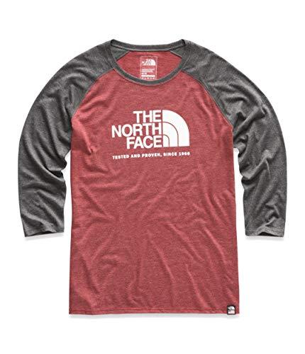 The North Face Women's ¾ Americana Tri-Blend Baseball Tee, Cardinal Red Heather/TNF Dark Grey Heather, Size S