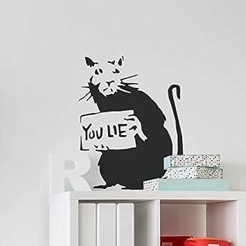 BANKSY RATTE GRAFFITI Schablone - Sie lie Ratte/Wiederverwendbar Heim Dekoration & Kunst Handwerk Malerei Schablone - semi-transparent Schablone, XS/11X15CM Ideal Stencils