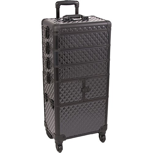 SUNRISE Makeup Rolling Case 4 in 1 Professional Organizer I3364 Aluminum, 3 Stackable Trays and Two 3 Tier Trays, 4 Wheel Spinner, Black Diamond