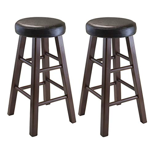 Wood & Style Premium Décor Set of 2 Round Counter Stool, PU Leather Cushion Seat, Square Legs, ()