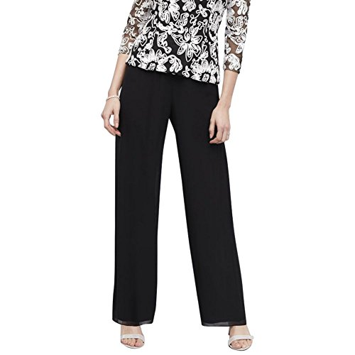Alex Evenings Women's Chiffon Dress Pants, Black, S by Alex Evenings