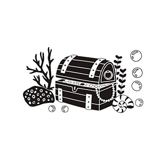 ♚Rendodon♚ Wall Sticker, 3D Creative Home Decor, Children's Pirate Decorative Treasure Chest Removable Wall Stickers, Mobile Creative Wall Affixed with Decorative Wall Window Decoration -