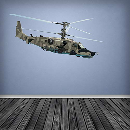 Full Colour Army Attack Helicopter Wall Sticker Decal Boys Bedroom Cadet Camouflage