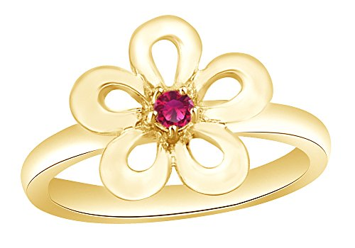 (AFFY Simulated Pink Sapphire Flower Ring in 14k Yellow Gold Over Sterling Silver Ring Size - 8)