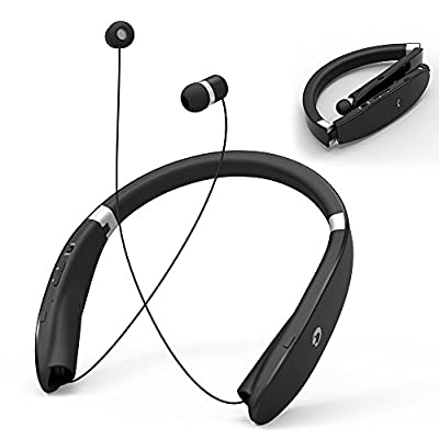 Retractable Bluetooth Headphones Headsets, GRDE Neckband Style Bluetooth 4.1 Foldable Wireless Sports Earphone Earbuds with Microphone, Compatible for Most Bluetooth Devices