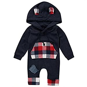 Albee Yang Newborn Infant Baby Boys Girls Hooded Clothes Long Sleeve Plaid Romper Sweatsuit Patch Hoodie with Pocket 0-24M (0-6 Months)