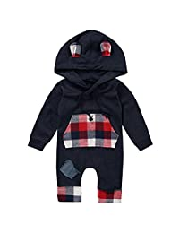 Newborn Baby Boy Long Sleeve Plaid Romper Sweatsuit Patch Hoodie with Pocket