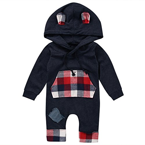 Newborn Baby Boy Long Sleeve Plaid Romper Sweatsuit Patch Hoodie with Pocket (0-6months, Navy Blue)