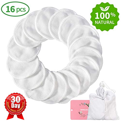 Reusable Makeup Remover Pads 16 Packs, Washable Organic Bamboo Cotton Rounds, Toner Pads, Facial Soft Cleansing Wipes with Laundry Bag