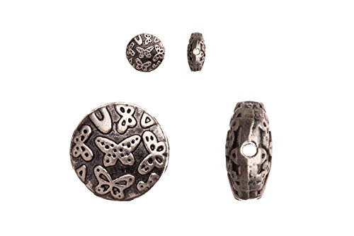 - Pewter Beads, Burnished Silver Plated, Butterfly Design, 10mm Puff Round sold per 10pcs/pack (3pack bundle), SAVE $2