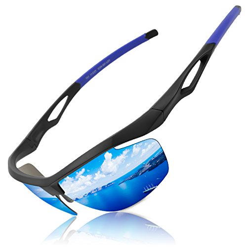LUXEAR Sports Polarized Sunglasses, Unisex 100% UV Protection Sports Glasses for Men or Women Cycling Baseball Riding Driving Running Golf Outdoor Activities TR90 Unbreakable. Blue