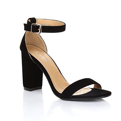 GLAMZ - Sandalias de vestir de Material Sintético para mujer Black Suede