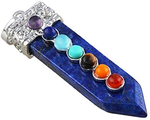 Pyramid of Enlightenment 7 Chakra Gemstone Pendant,Sword of Life,Crystal Healing Point (Lapis Lazuli)