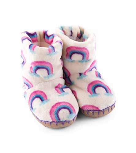 (Hatley Girls' Toddler Fuzzy Fleece Slouch Slippers, pretty Rainbows, Small (5-7 US Kids Shoe Size))