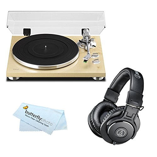 TEAC TN-300 Analog Turntable with Built-in Phono Pre-amplifier & USB Digital Output + Audio-Technica ATH-M30x Professional Studio Monitor Headphones (Natural)