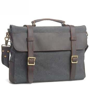 EcoCity Cotton Canvas Genuine Leather Cross Body Laptop Messenger Bags Business Shoulder Handbag Briefcases MB0035G3 (Grey)