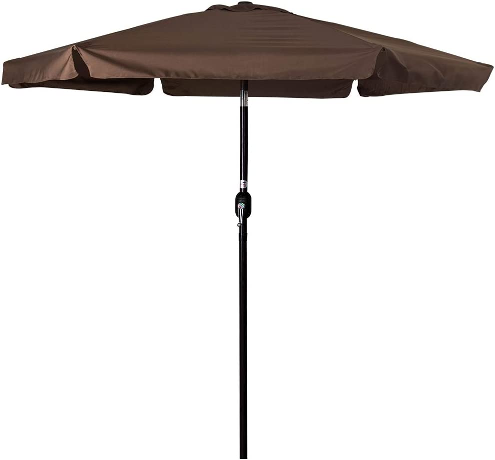 Sundale Outdoor 7.5 Feet Aluminum Beach Drape Umbrella Table Market Umbrella with Crank and Push Button Tilt for Patio, Garden, Deck, Backyard, Pool, 6 Fiberglass Ribs, 100 Polyester Canopy Coffee