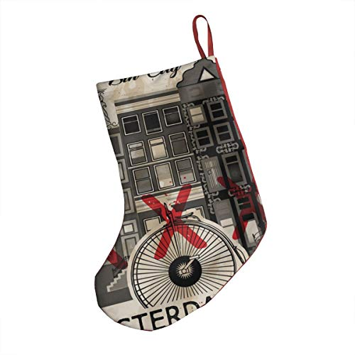 Halloween 2019 Amsterdam (Amsterdam Netherlands Capital 2019 New Print Traditional Santa Claus Xmas Christmas Stocking with Christmas Ornament for Family)
