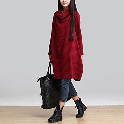 Col Rouge BienBien Pullover Robe Manche Ligne Sweatshirt Mode Femme Pull Robe Taille Automne Oversize Bnitier Tunique Grande Hiver Longue Sweat Elegant A Long Robe RqgxFnqI