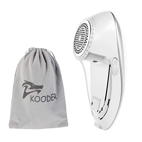 KOODER Sweater Shaver, USB Rechargeable Fabric Shaver, Lint Remover. Double Battery Lasting and Effective Lint Shaver (Silver White) (Sweater Shaver Lint Remover)