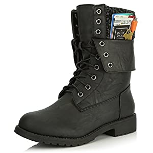 DailyShoes Womens Military Lace Up Buckle Combat Boots Ankle Mid Calf Fold-Down Exclusive Credit Card Pocket, Black PU, 10