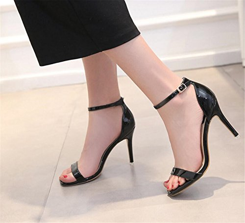SHUNLIU Damen Sandalen High Heels Sandalen Knöchelriemchen Sandalen Absatz Offene Schuhe mit Wort Schnalle Damenschuhe Plateau Pfennig-/Stilettoabsatz High Heels Schnalle Schwarz
