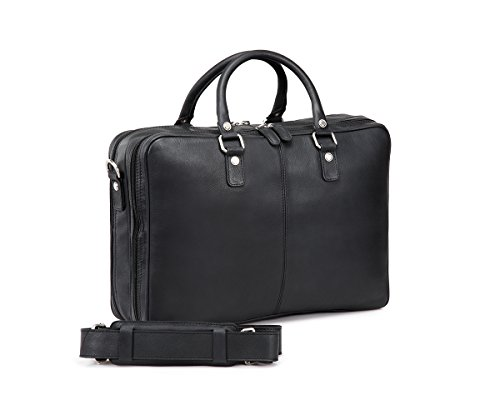 TheCultured Leather Double Zip Laptop Bag / Briefcase / Work Bag - Black (Double Gusseted Portfolio)