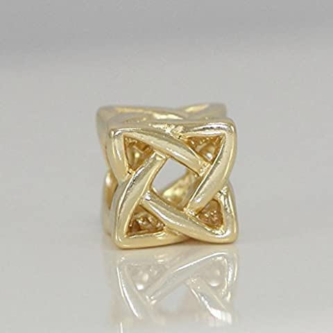 Sterling Silver Gold Celtic Knot Charm Bead for European Charm Bracelets #EC536 - Pearl Graduation Charm