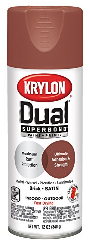 Krylon K08834001 'Dual' Superbond Paint and Primer, Satin Brick, 12 Ounce