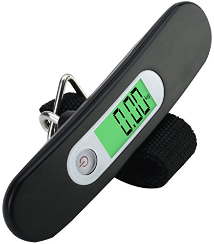 Travel Buddy - Luggage Scale LS2 2017 - Portable Digital Travel Suitcase Scale for Travel, Outdoor, Fishing, Home, Kitchen - Handheld Scale with Buckle Strap - High Accuracy, 110 lb/ 50KG Capacity - BLACK