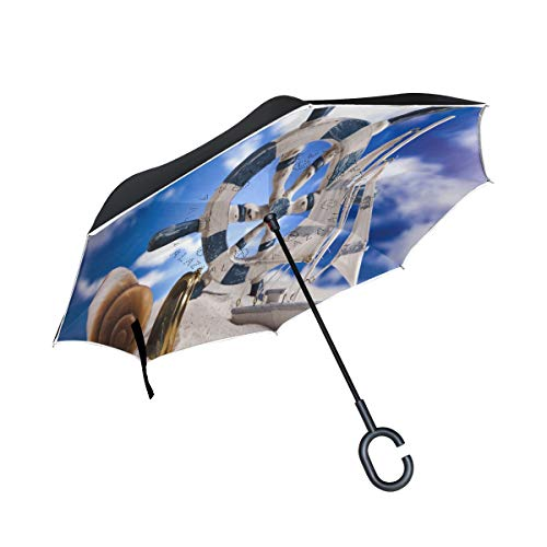 Reverse Umbrella Sea Theme Seashells ShipS Helm Windproof Double Layer for Car
