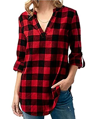 Kyerivs Women's Buffalo Check Plaid Shirts V Neck Roll Up/Long Sleeve Casual Blouse Tops