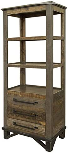 Crafters and Weavers Greenview Loft Industrial Farmhouse 3 Drawer Pier Bookcase