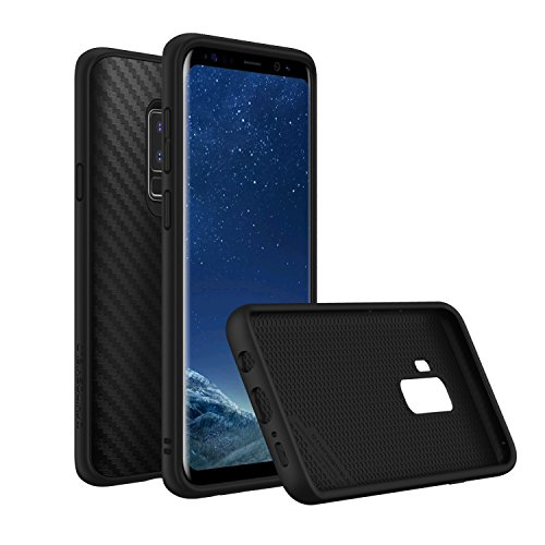 - RhinoShield Case for Galaxy S9 Plus [SolidSuit] | Shock Absorbent Slim Design Protective Cover - Compatible w/Wireless Charging [3.5M / 11ft Drop Protection] - Carbon Fiber Texture