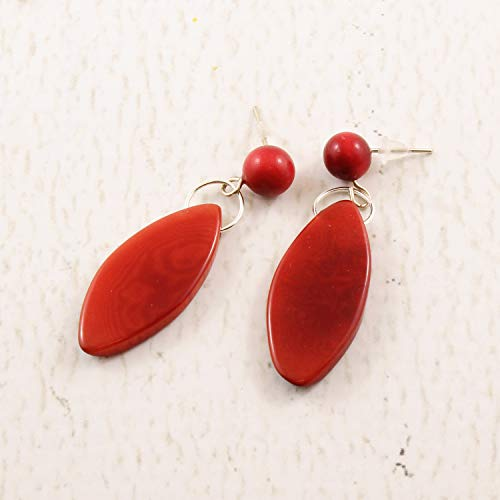 Fair Tagua Trade Nut - Dark Red Earrings of Tagua Nut, Fair Trade Eco Friendly Jewelry