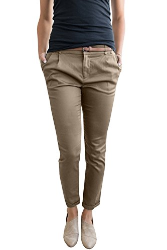 Flat Front Twill Trousers - Ermonn Womens Casual Slim Fit Stretch Long Pants Belted Twill Jogger Trousers with Pockets