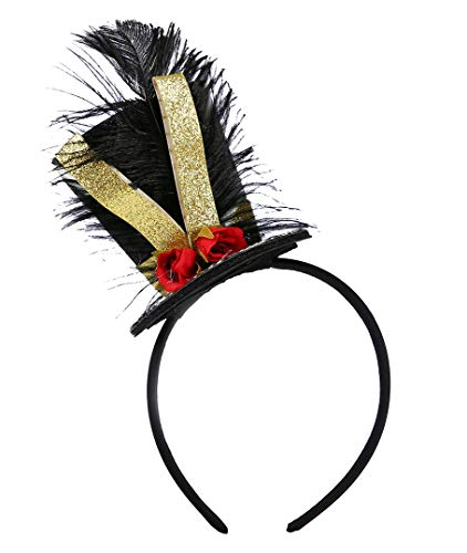 Tutu Dreams Circus Headband Top Hat Ringmaster Glitter Ribbon Halloween Carnival Pageant Dancer (Top hat) Black